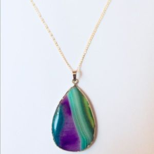 Jewelry - HP  Purple & Green Banded Laguna Agate Pendant